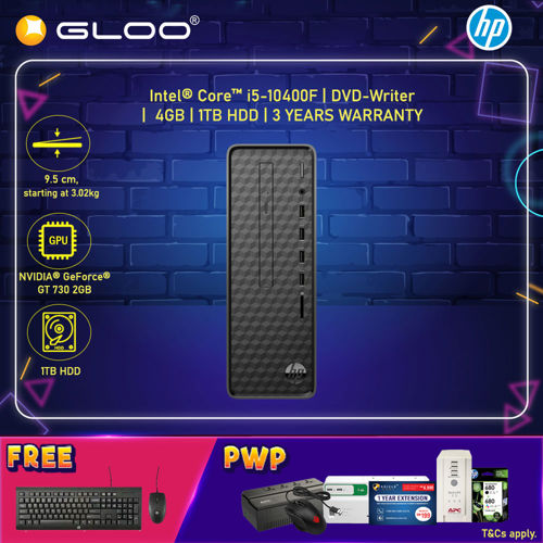 Picture of HP Slim Desktop S01-pf1139d (i5-10400F, 1TB HDD, 4GB, NVIDIA GT 730 2GB, W10) - Black [FREE] HP Keyboard + HP Mouse (Grab/Touch & Go credit redemption : 1/2-30/4*) + (HP PC Student Promo : 1/1-28/2**)