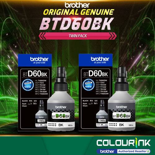 Picture of Brother Original Genuine BTD60BK Black Twin Pack Refill Ink Bottle Dcp-T510W DCP-T310 DCP-T710w MFC-T910DW MFC-T4500DW HL-T4000DW D60bk BT-D60BK