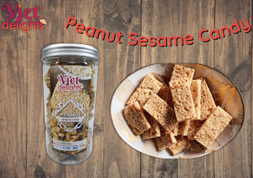 Picture of Peanut Sesame Candy from Vietnam. Available size 400g  per bottle.